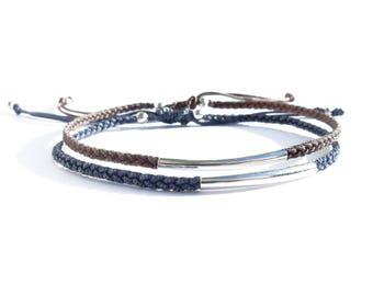 knotted cord bracelet sterling silver tube bead / friendship bracelet / adjustable bracelet / macrame bracelet / braided bracelet