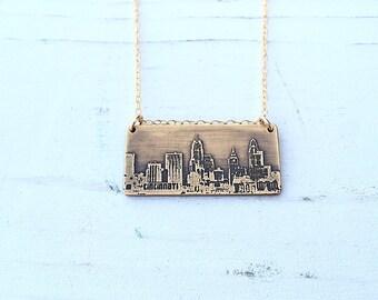 Cincinnati Ohio city skyline necklace   Cincinnati skyline pendant in copper or brass   jewelry for her
