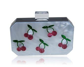 Cherry Luctie Acrylic Box Clutch