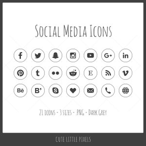 Social Media Icons - 21 icons in 3 sizes, PNG files, dark gray, outline style with solid icon