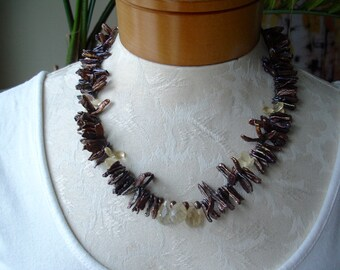 Vintage Biwa pearl Freshwater Peacock Pearl Necklace  - 18 inches plus 1.5 inch extension / purple-ish, brown-ish,  blu-ish