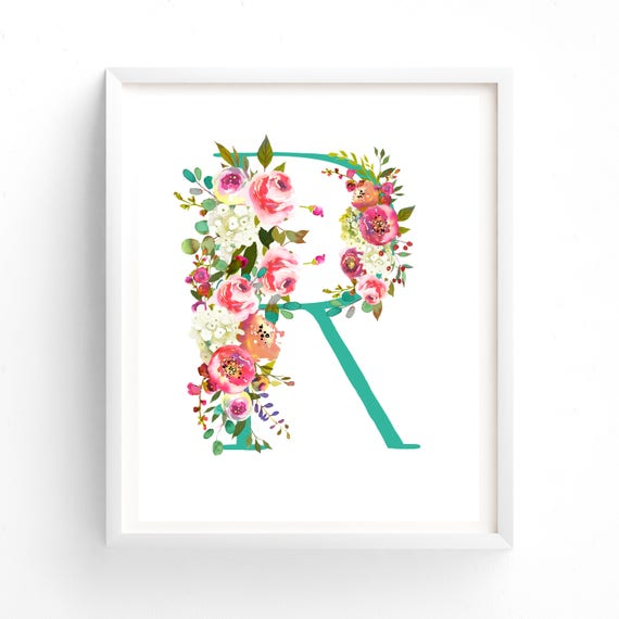 Letter r wall art nursery prints printable letter monogram for Babies r us wall letters