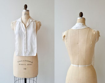 Linen Dickie blouse | vintage 1950s dickie | linen backless blouse