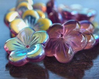 Czech Glass Amethyst AB 16mm Flower Bead : 10 pc Large Purple Flower