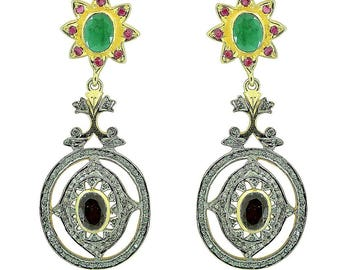 Sale! Certified Handcrafted 5ct Earth Mined Ruby Garnet Emerald 2ct Diamond Statement 18k Gold Earrings 18k GF with Sterling silver