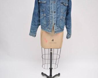 vintage denim jacket oversized 1960s jean jacket boyfriend fit trucker 60s