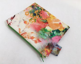 Small Floral Linen Zipper Pouch