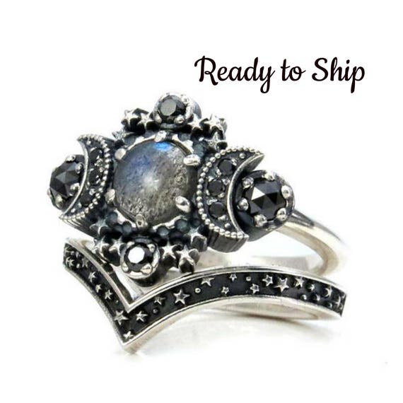 Ready to Ship Size 6-8 Labradorite Cosmos Engagement Ring Set - Triple Moon Goddess Silver Ring - Sterling Silver