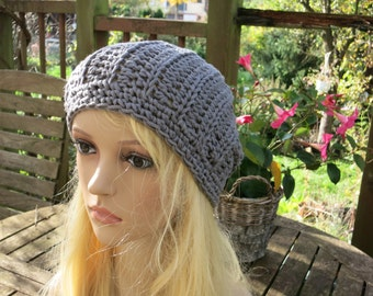 Crochet beret MIA grey