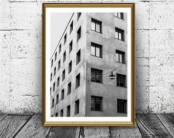 Windows Print, Black and White Photo, Printable Art, Architecture Print, Instant Download, Building Photo, Wall Decor, Architectural Print
