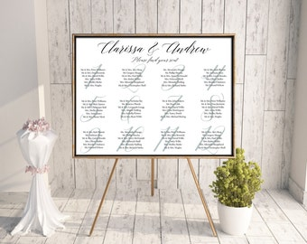 baby blue and white printable wedding seating chart, modern seating chart, downloadable customized wedding seating chart, seating plan