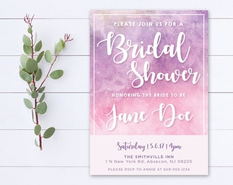 Printable Bridal Shower Invitation - Pink Purple Watercolor - 002
