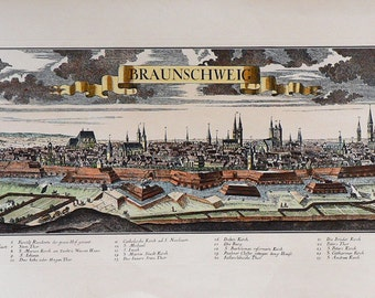 City - Braunschweig / Germany - Cm. 88 x 39 Inches 34.6 x 15.4 - Printed on high quality paper and water-coloured by hand. Since 1930s