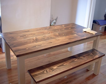 6u0027 Solid Wood Farmhouse Table   Farmhouse Dining Table   Farmhouse Kitchen  Table   Built To Order