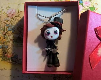 Fimo hatter Necklace Mad Alice Kawaii