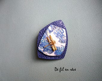 Handmade brooch made of blue polymer paste and Golden Dragonfly (SP12)