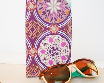 Purple Medallion, Sunglass Case Glass Sleeve Monogrammed Cases for Over sized glasses Funky Sunglass case Polka Dots Sunglass sleeves