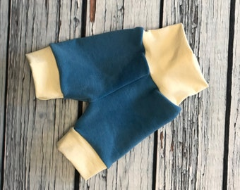 Wool Interlock Shorties - Large - Blue - Cuffed - Hand Dyed