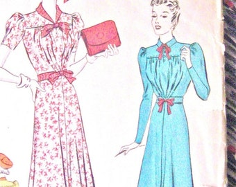 Spring Sale 1930s Pictorial Review Printed Pattern 9664 Dress 30s Vintage Sewing Dress Pattern Bust 34 inches