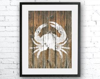 Crab 2 art illustration print, Crab painting, Nautical, Wall art, Rustic Wood art,  Animal print, Home Decor, Animal silhouette, wood print