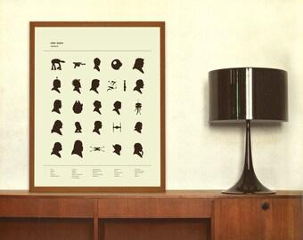 ALPHABET - Star Wars Inspired, Poster, Nursery, Silhouette, 18 x 24 Art Print, Screenprint, Boys Room, Girls Room, Vintage, Boutique