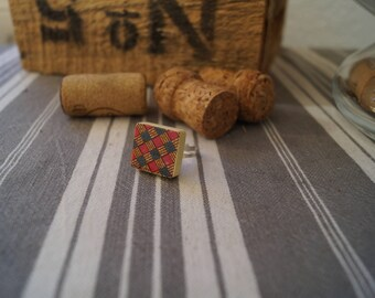 Pink scrabble tile ring