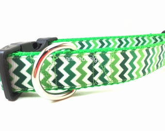St Patricks Dog Collar, Irish Chevron, adjustable, 1 inch, medium, 13-19 inches, heavy nylon, side release buckle