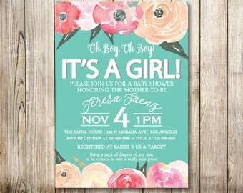 Floral Teal Baby Shower Digital Invitation