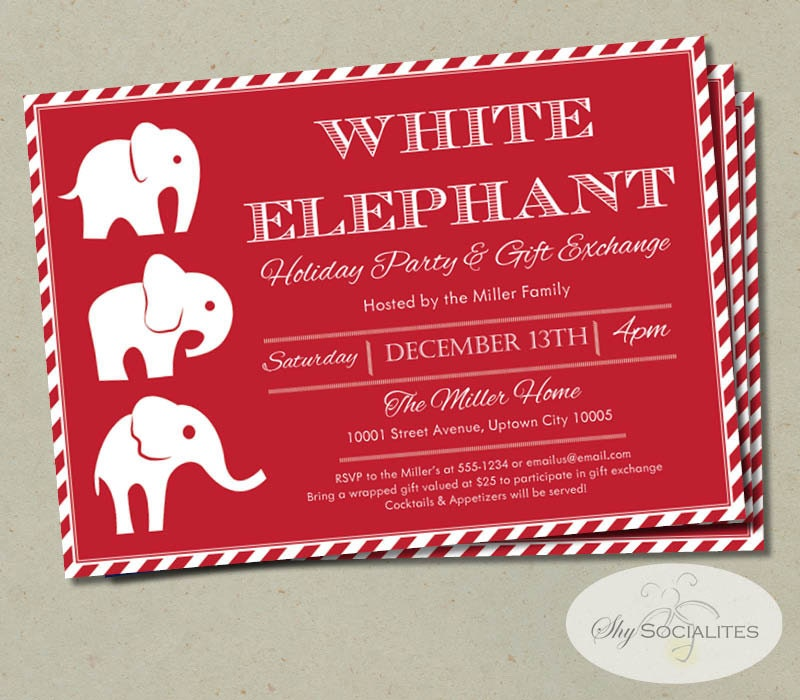 White elephant invitation candycane stripes gift exchange zoom negle Gallery