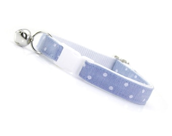 "Chambray Cat Collar - ""Merritt"" - Light Blue Dot Cat Collar Breakaway / Wedding / Preppy / Denim / Cat, Kitten & Small Dog Sizes"