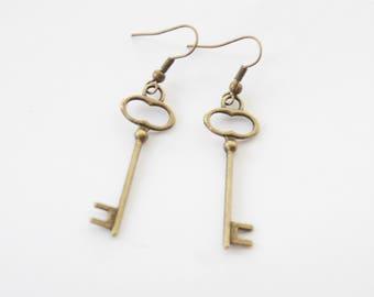 Key Earrings, Skeleton Key Earrings, Christmas Gift, Mothers Day gift from son, Mothers day gift from husband, Gift for Mom