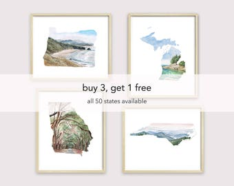 bundle watercolor state art print - painted state art - United States map art - unique holiday gifts - state artwork -