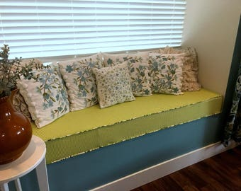 Window Seat Bench Cushion Cover, Drop Down Box to Select Size- You Choose the Fabric