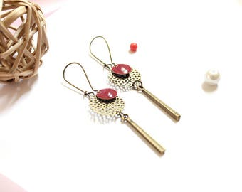 Burgundy earrings / enamel earrings / earrings / dark red enamel earrings