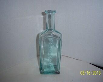 1870's Dr O. Phelps Brown 8 1/8 inch tall  Aqua Blue Druggist Pharmacy Medicine Bottle