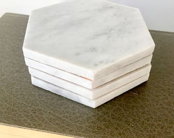 Carrara Marble Hexagonal Coasters