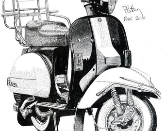 Greeting Card - Pen & Ink Drawing, A5 - Vespa Scooter