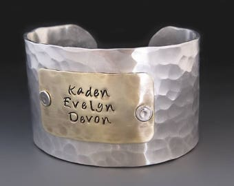 Wide 1.5 inch Silver and Gold Hand Stamped Custom Bracelet /  Personalized Silver Cuff / Children's' Names / Anniversary Gift / Gift for Mom