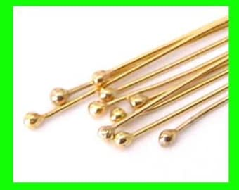 """30 pieces 26 gauge round ball end head pin 14k gold filled Headpin 1.5""""  GF30"""