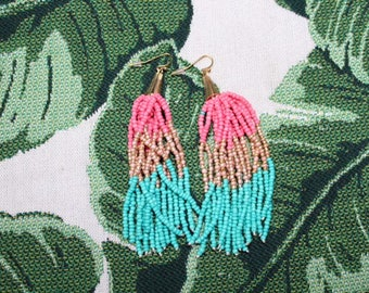 Coral, Pink and Green Beaded Tassel Earrings, Boho Chic Jewelry Earrings, Beaded Women's Earrings
