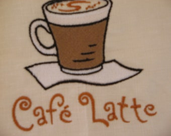 Embroidered Linen Towel Cafe Latte