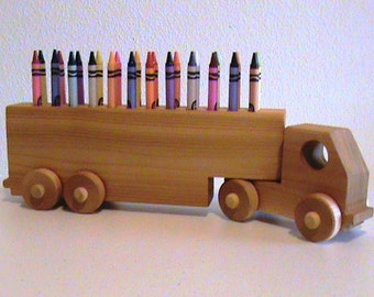 Wooden Truck Crayon Holder - Birthday Gift Kids - Crayons Included - All Natural Finish - Classic Educational Toy - Eco Friendly Kids Toy