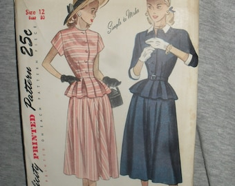 Vintage Sewing Simplicity Two Piece Dress Pattern - 1940s - # 2321