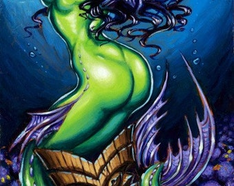 BigToe's Green Siren Limited Edition Art Print
