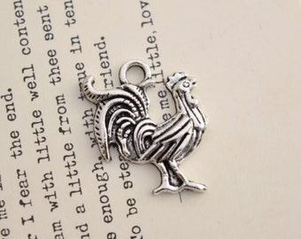 20 antique silver rooster charms chicken charm pendant pendants  (L10)