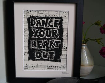 Dance Your Heart Out Original Linoprint on Vintage Sheet Music