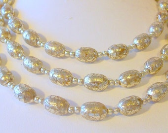 Vintage 3 Strand Plactic Silver Crakle Pearl Beads Circa 1960   Free Shipping in USA