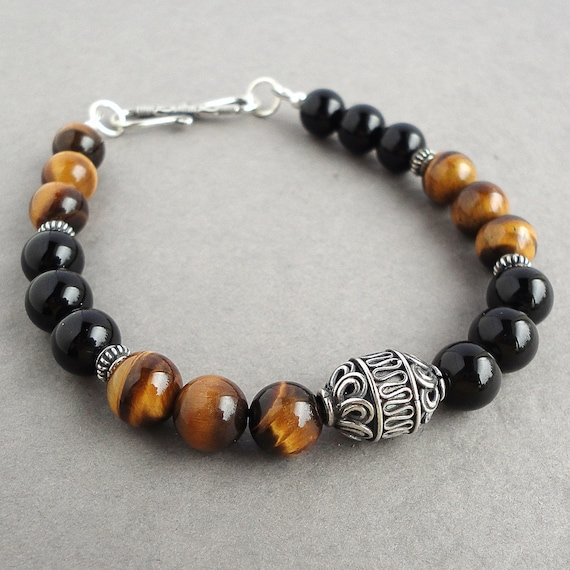 stainless mens solid bracelet men stone steel titanium with onyx black bead gothic item oxidized charm skull