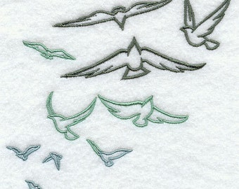 Flock of Birds Embroidered Flour Sack Hand/Dish Towel