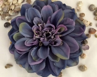 Blue Dahlia large silk flower hair clip